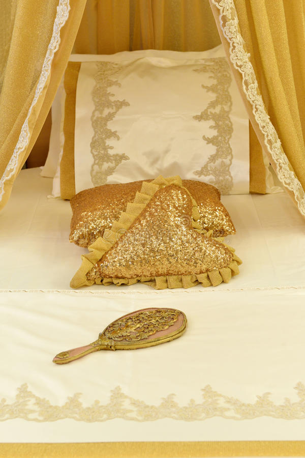 Luxury Bedding and Cushions royalty free stock image