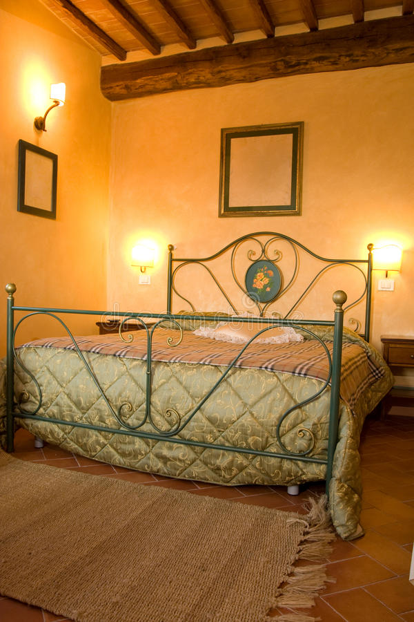 Luxury bedroom. In a traditional built rustic villa stock photo