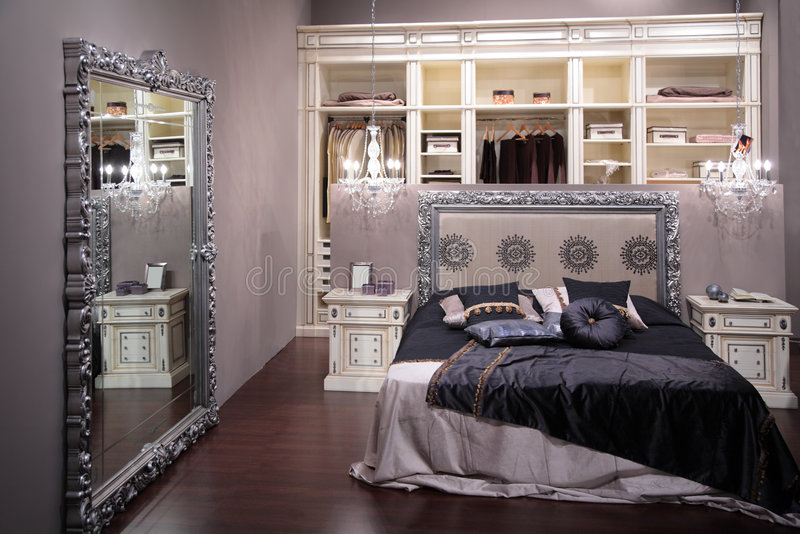 Luxury bedroom. On grey color royalty free stock image