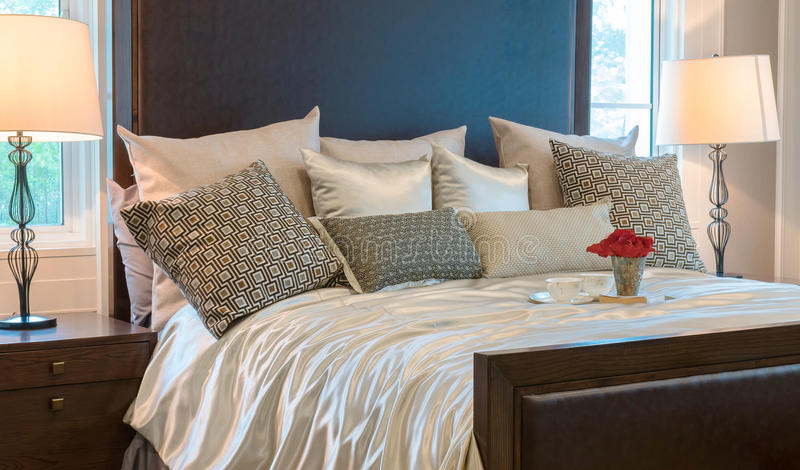 Luxury Bedroom With Brown Pattern Pillows And Decorative