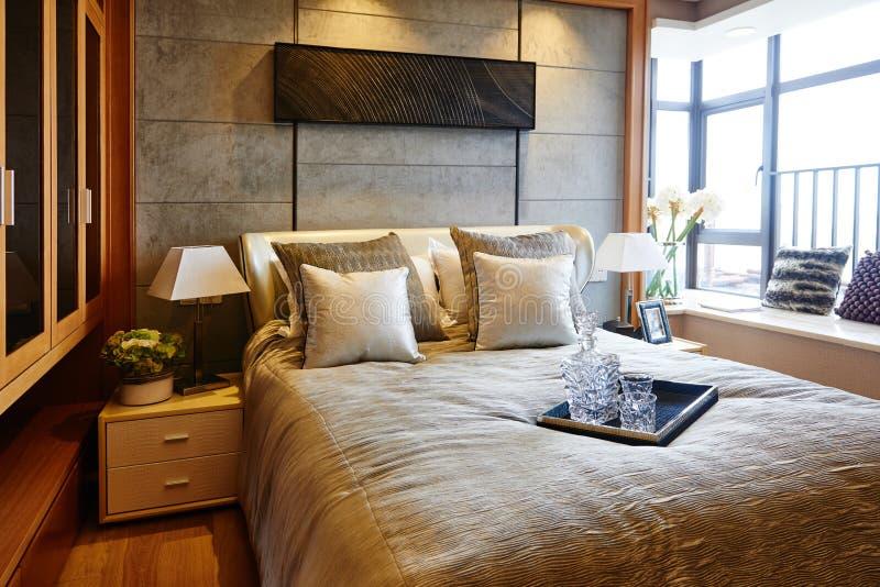 Luxury trendy bedroom stock images