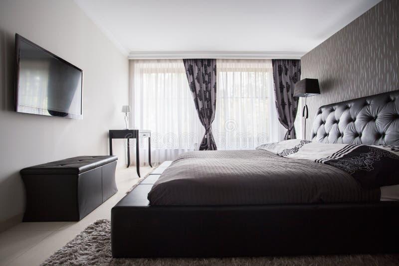 Luxury bedroom in gray color stock photos