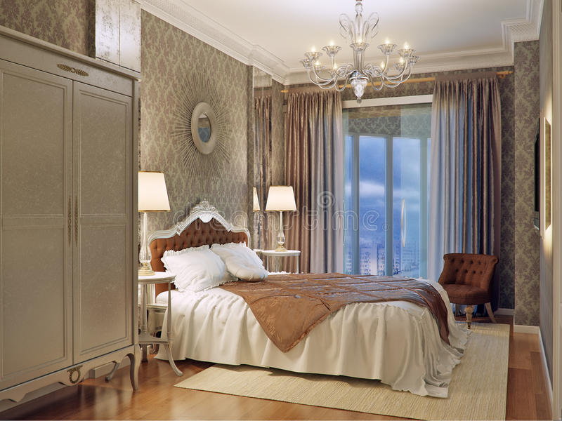 Luxury bedroom interior design in classic style with aged mirror stock photos