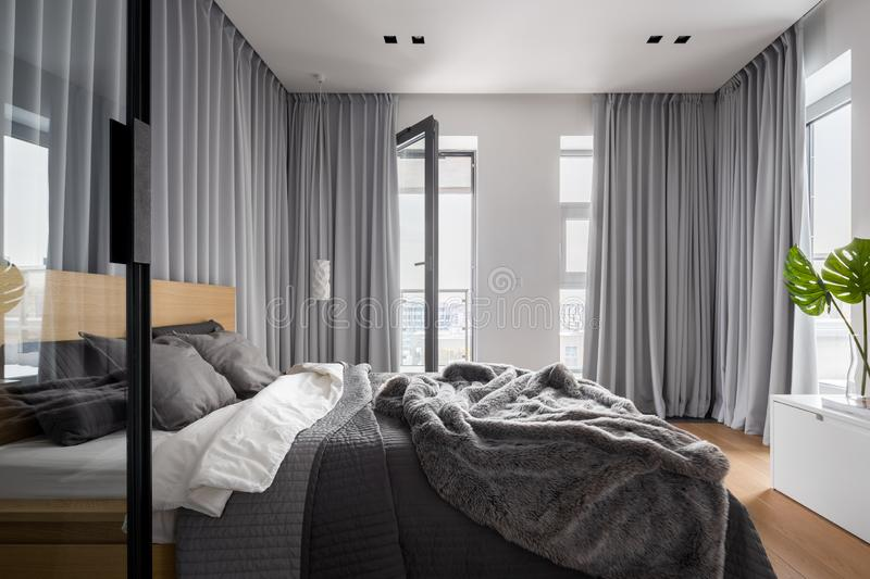 Luxury bedroom interior with double bed royalty free stock photography