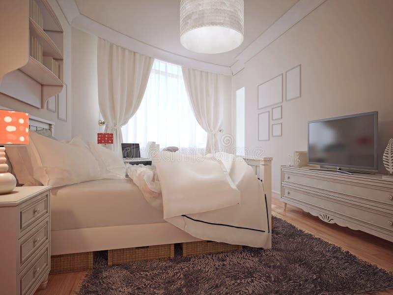 Luxury Bedroom Mediterranean Style Stock Image - Image of ...