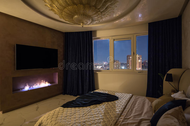 Luxury bedroom in modern style stock images
