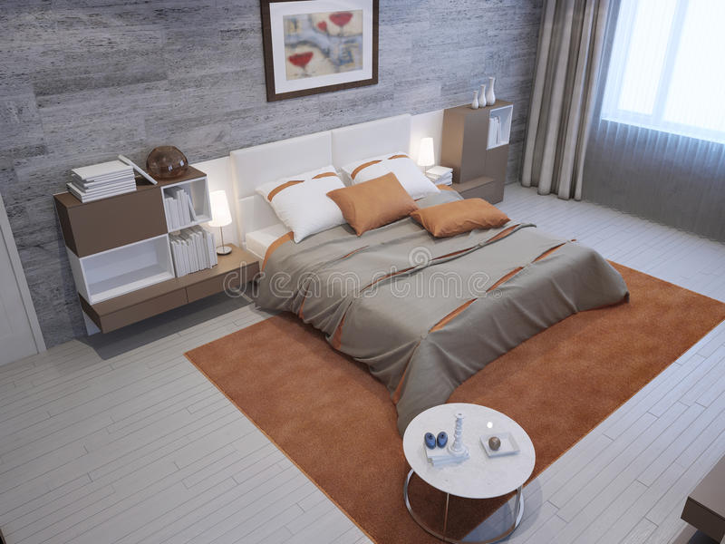 Luxury bedroom in private house royalty free illustration