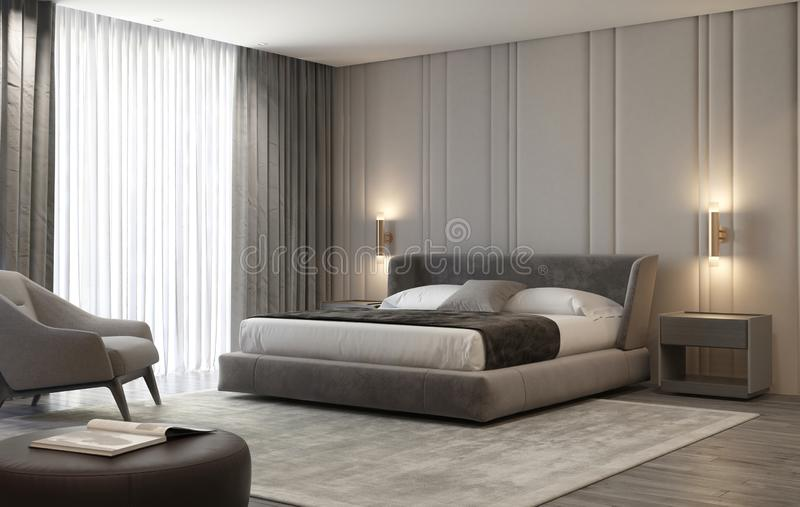 Luxury beige and grey inreior bedroom with brass wall lamps stock photo