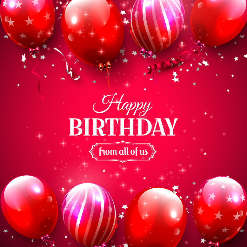 Luxury birthday greeting card. With red balloons on red background vector illustration