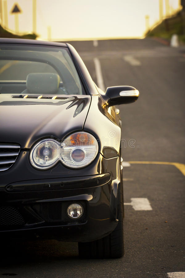 Luxury black cabriolet vehicle stock photo