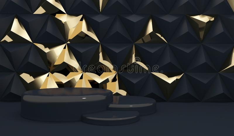 Luxury black geometric background with golden triangles and a three-level podium for presentations. stock illustration