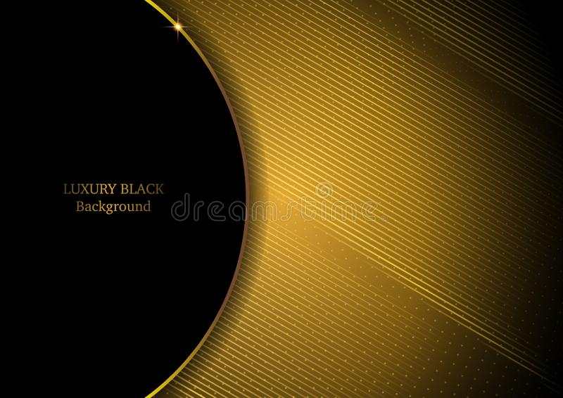 Luxury Black & Gold Background Shiny in line composition. Luxury Black & Gold Background shiny in line art composition royalty free illustration