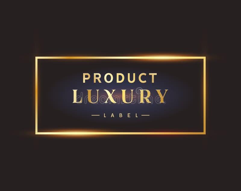 Luxury black label golden frame logo. Premium design element royalty free illustration