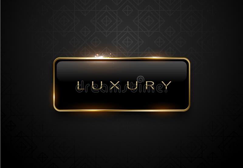 Luxury black label with golden frame sparks on black background. Dark premium logo template. Vector illustration. Luxury black label with golden frame sparks on royalty free illustration