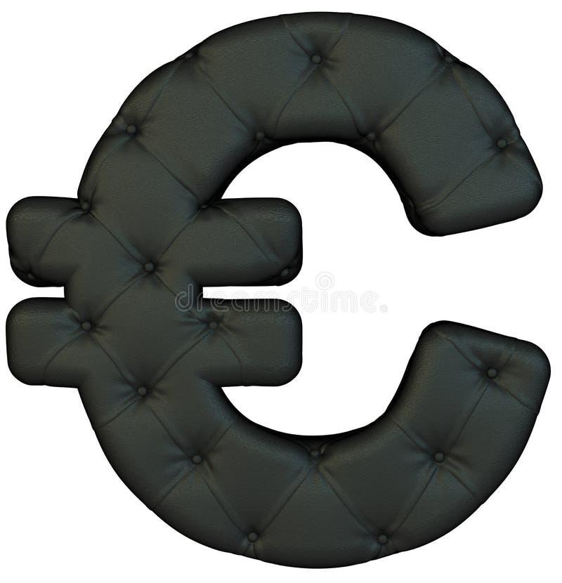 Luxury black leather font Euro symbol