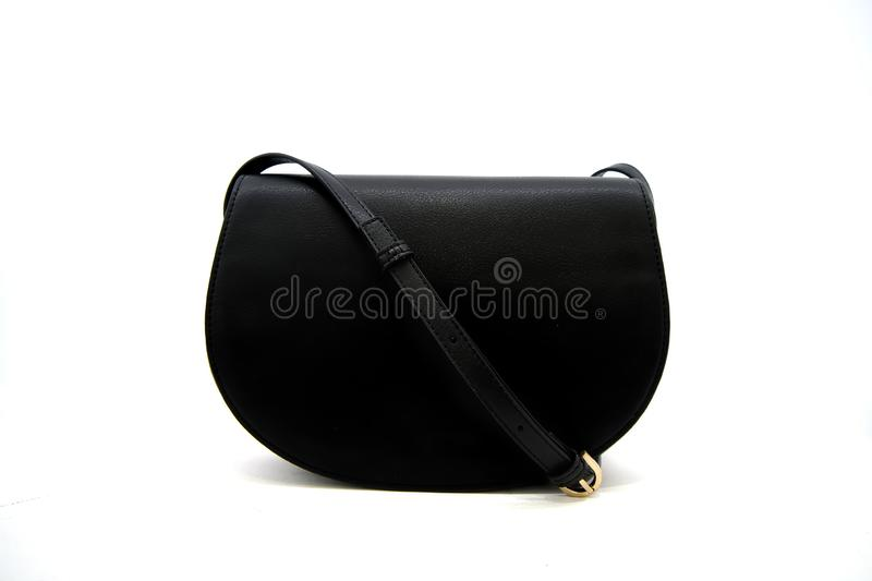 Luxury black leather holding female fashion hand bag. Isolated white sale object women expensive lady modern casual design classic vanity vogue fancy feminine stock photography