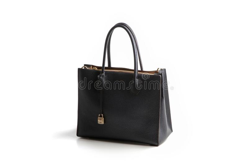 Luxury black leather holding female fashion hand bag. Isolated background white sale object women expensive lady modern casual design classic vanity vogue fancy stock images