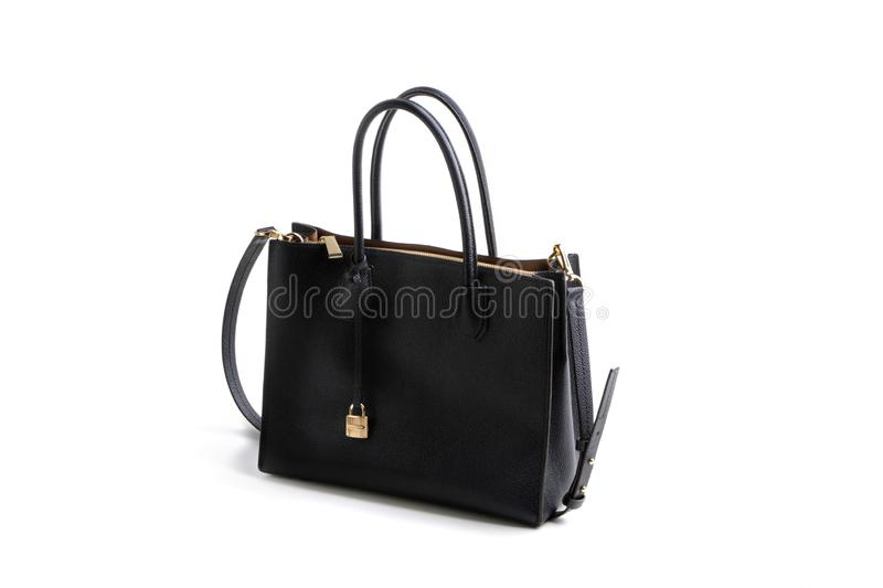 Luxury black leather holding female fashion hand bag. Isolated background white sale object women expensive lady modern casual design classic vanity vogue fancy royalty free stock image
