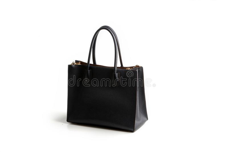 Luxury black leather holding female fashion hand bag. Isolated background white sale object women expensive lady modern casual design classic vanity vogue fancy stock photos