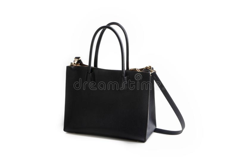 Luxury black leather holding female fashion hand bag. Isolated background white sale object women expensive lady modern casual design classic vanity vogue fancy stock image