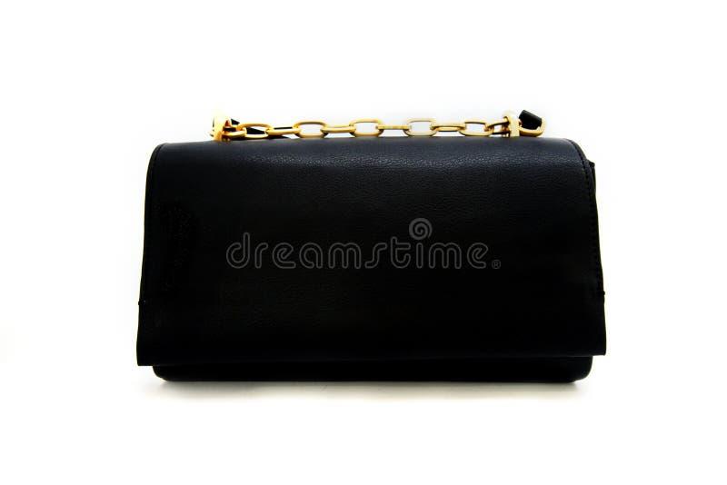 Luxury black leather holding female fashion hand bag. Isolated white sale object women expensive lady modern casual design classic vanity vogue fancy feminine stock image