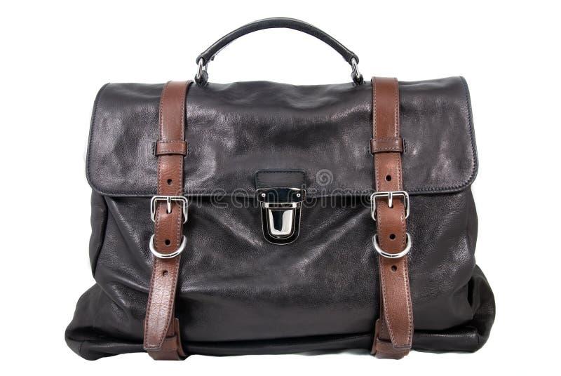 Luxury black leather male travel bag. Isolated on white stock images