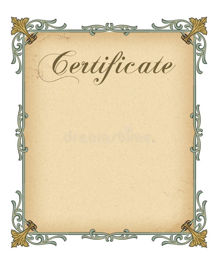 A Luxury Blank Certificate Stock Photo
