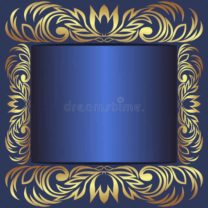 Free Luxury Blue Frame Decorated The Royal Borders Stock Photography - 69115982