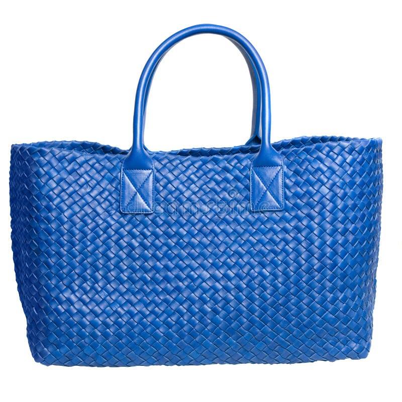 Luxury Blue Leather Female Bag Isolated On White Stock Photos