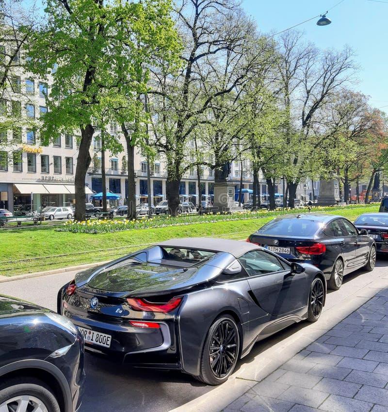 Luxury BMW i8 car in munich, germany royalty free stock photo