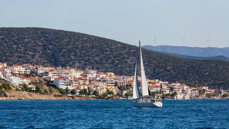 Luxury boat near greek island in the Aegean Sea. royalty free stock photo