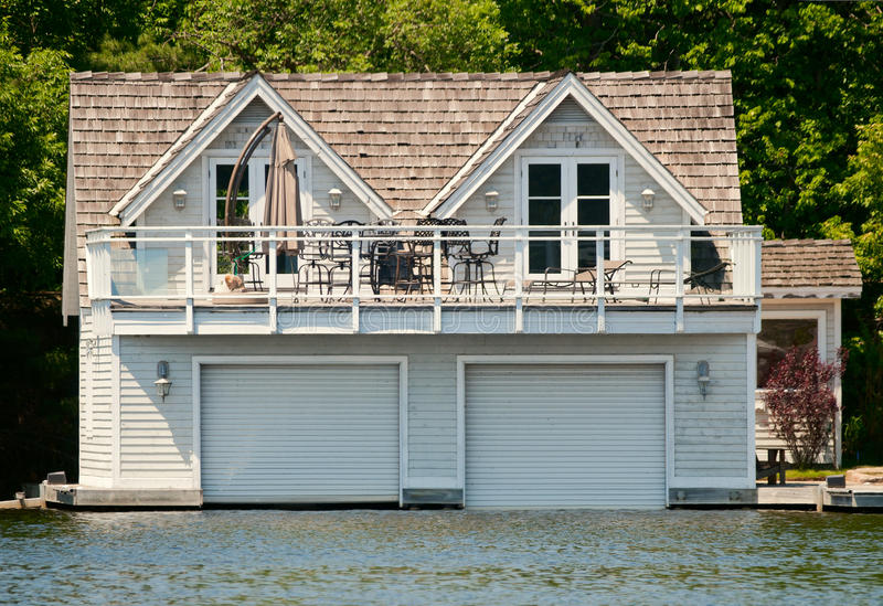 Luxury boathouse stock image