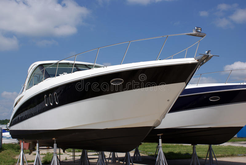 Luxury boats for sale stock photography