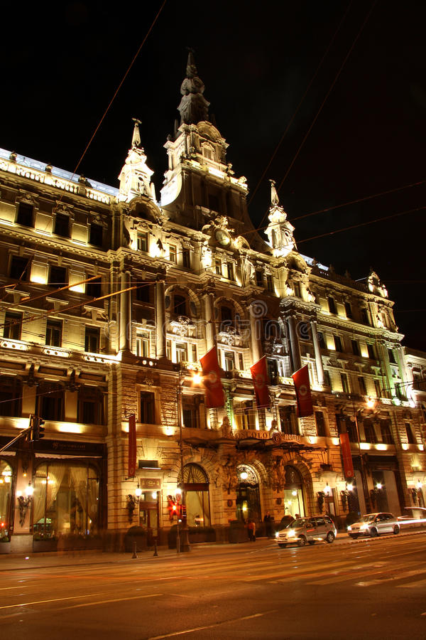 Download Luxury Boscolo Hotel In Budapest At Night (Hungary) Editorial Stock Photo - Image: 33809373
