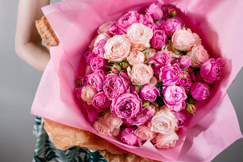Luxury Bouquets Of Flowers Pink Colour Peonies And Roses In The ...