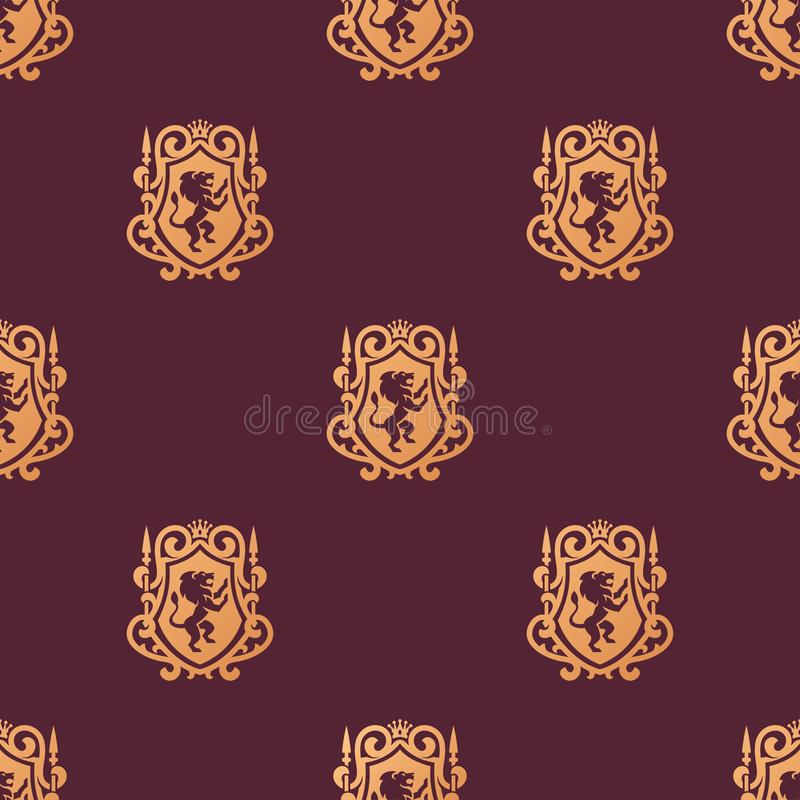 Luxury boutique Royal Crest high quality vintage product heraldry logo collection brand identity vector illustration. stock illustration
