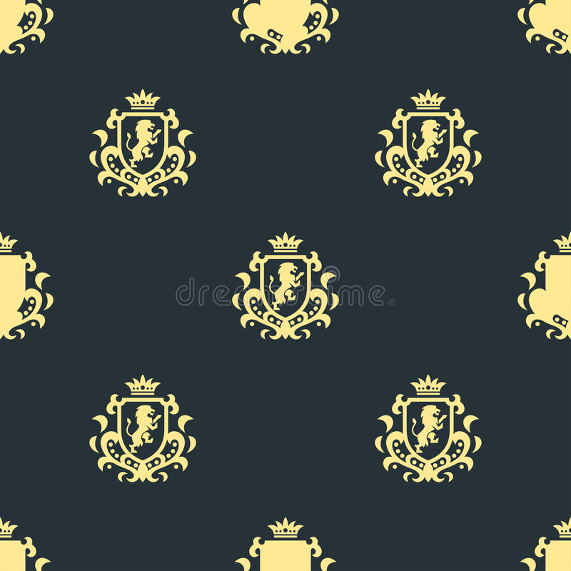 Luxury boutique Royal Crest high quality vintage product heraldry seamless pattern brand identity vector illustration. vector illustration