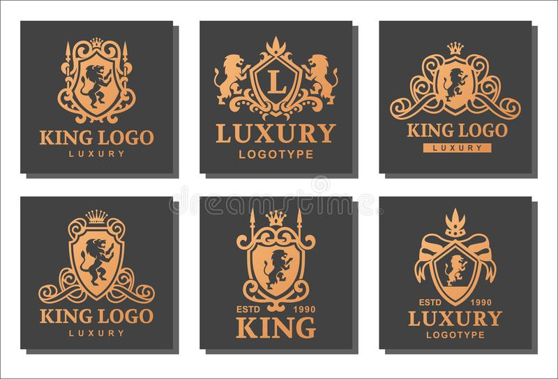 Luxury boutique royal crest high quality vintage product stock illustration