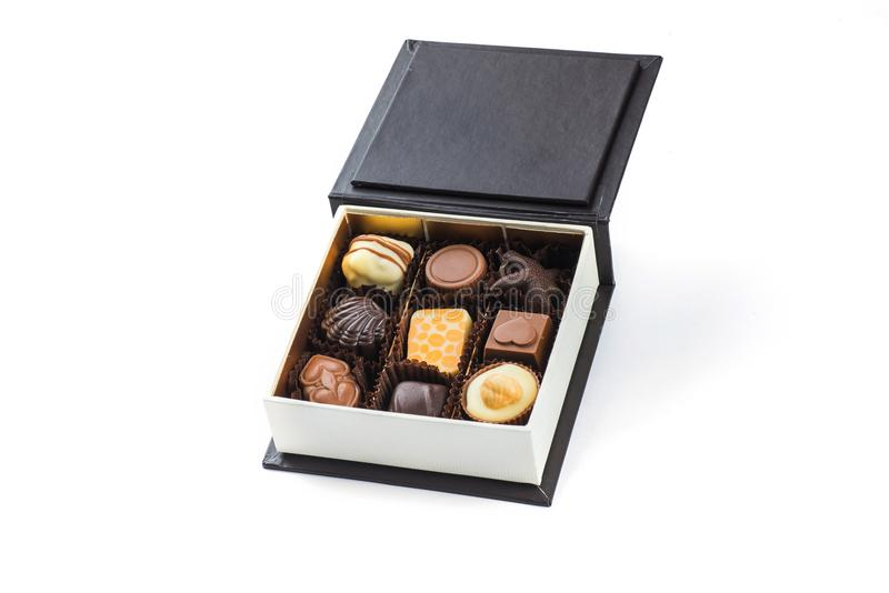 Luxury box of chocolate pralines made from finest Belgian chocolate stock images