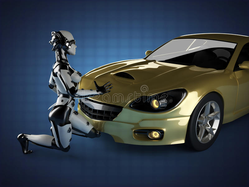 Luxury brandless sport car and woman robot vector illustration