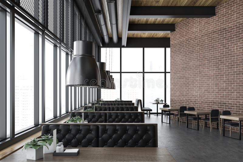Luxury brick restaurant interior, leather sofas royalty free illustration