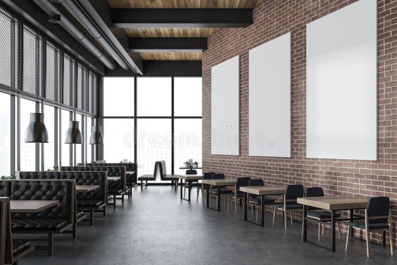 Luxury brick restaurant interior, poster gallery vector illustration