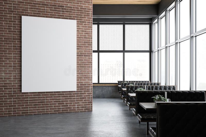 Luxury brick restaurant interior, poster stock illustration