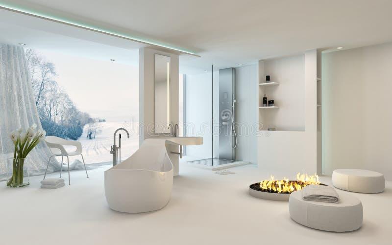 Luxury bright spacious bathroom interior royalty free illustration
