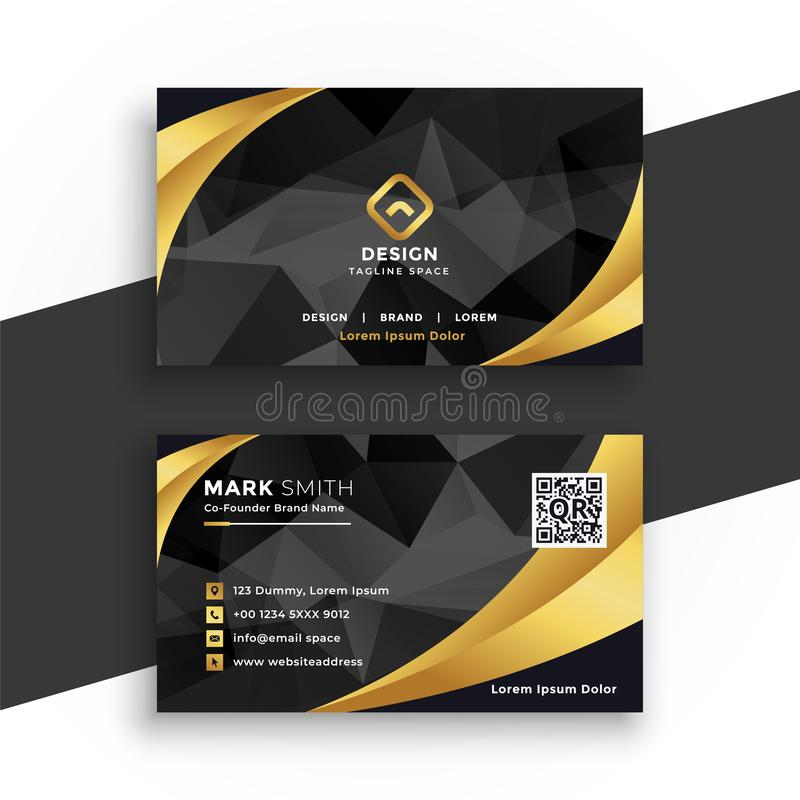 Luxury business card in black and gold colors. Vector stock illustration