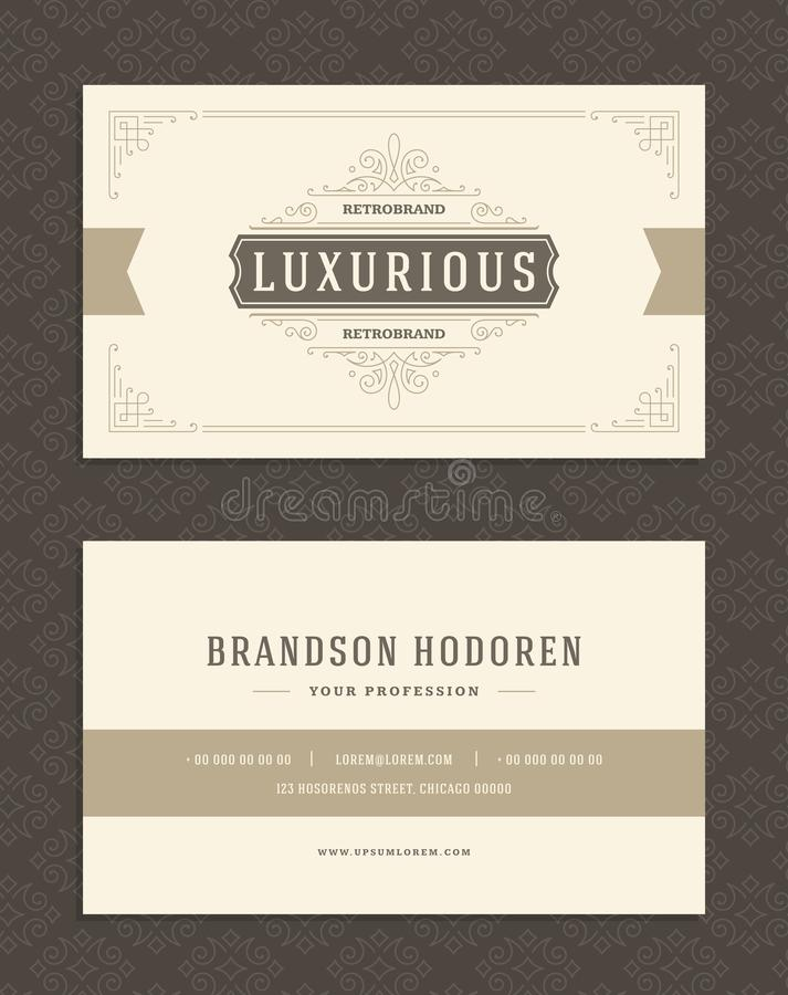 Luxury business card and vintage ornament logo vector template. Retro elegant flourishes ornamental frame design and pattern background stock illustration