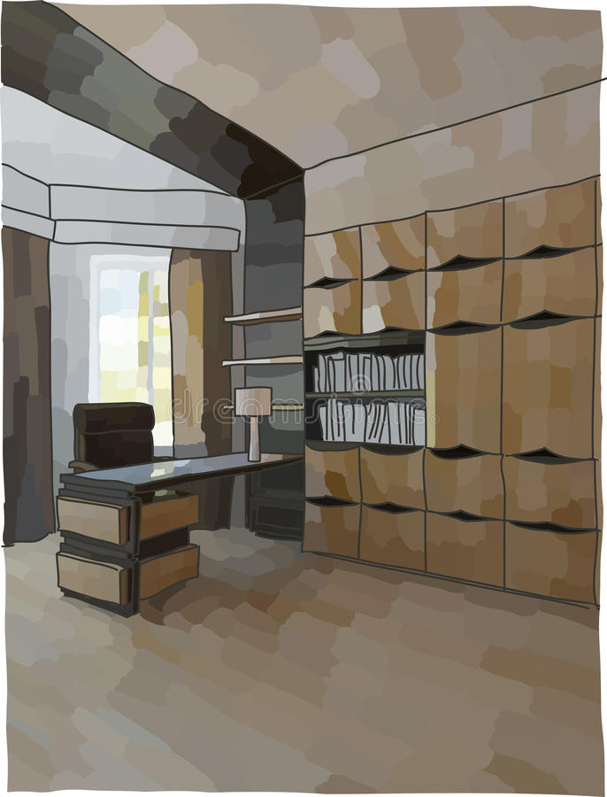 Luxury cabinet interior. Color illustration of office interior, modern style royalty free illustration