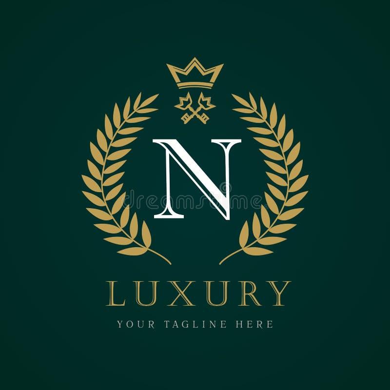 Luxury Calligraphic Letter M Crown And Key Monogram Logo