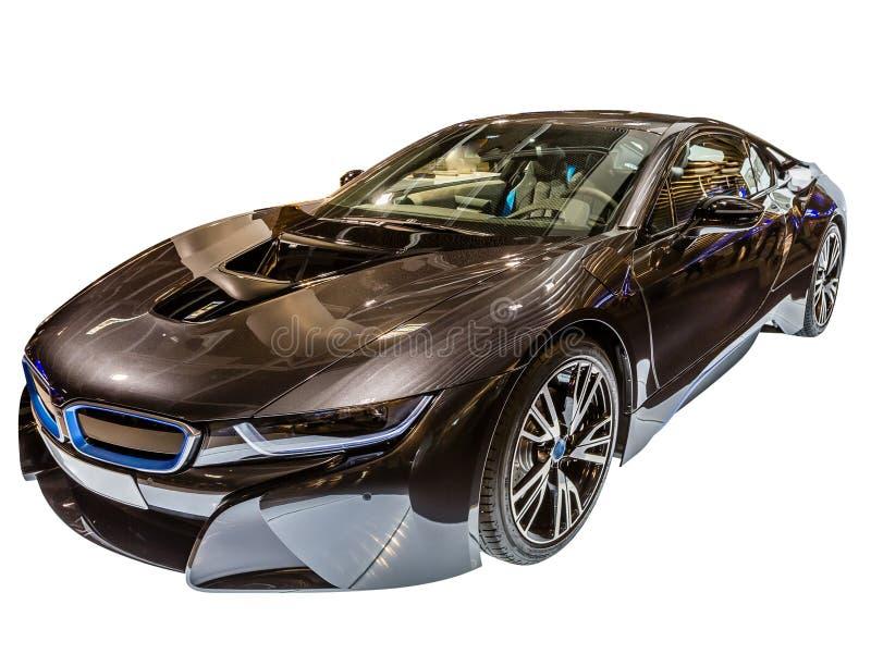 Luxury BMW i8. A BMW i8 hybrid car isolated on white background stock images