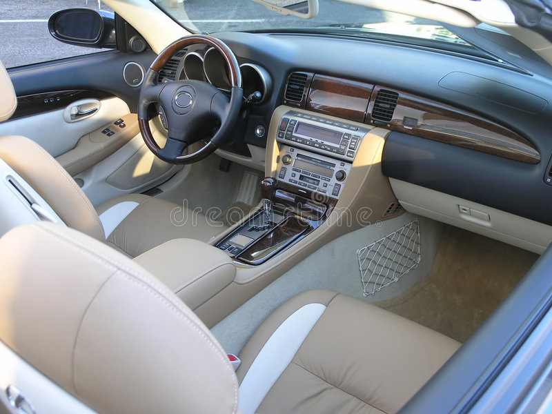 Luxury car convertible interior 1 stock photography